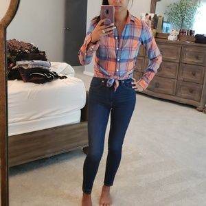 JCrew plaid top, XS